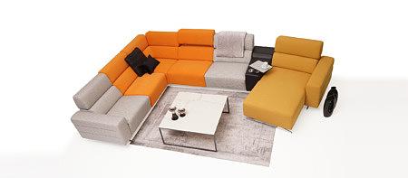 Infinity kolorówa sofa w salonie przykład aranżacji, żółta otomana