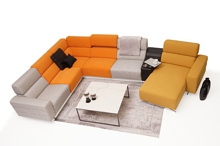 Infinity kolorowa sofa w salonie szare i pomarańczowe oparcia
