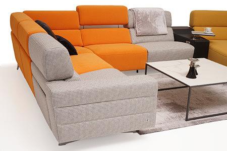 Infinity narożnik z pomarańczowymi siedziskami i szarym oparciem we wzorek