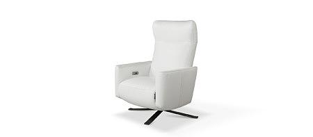 King biały elegancki nowoczesny fotel skórzany z funkcją relax