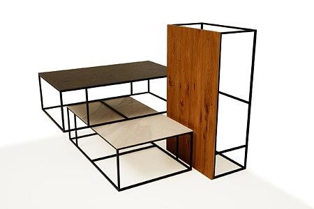 LB1 ławy metalowe na konstrukcji metalowej z różnymi blatami