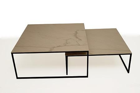 LB10 modernistyczna ława metalowa stolik kawowy blat spiek kwarcowy
