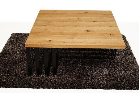 LB12 ława kwadratowa z nogami blaszanymi z płaskownika stalowego