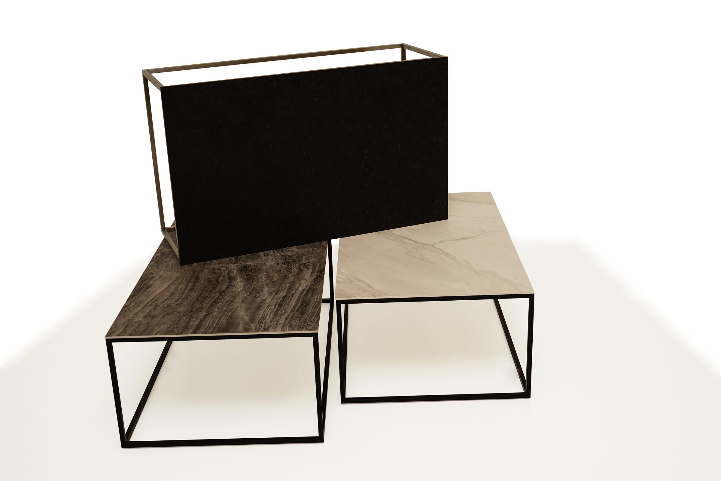 Najnowsze LB5 stoliki kawowe ławy metalowe z blatami ze spieków kwarcowych EZ46