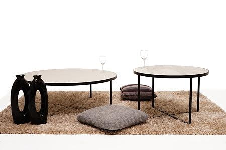 LB6 pomysł aranżacja ława stolik kawowy okrągły czarna rama biały blat