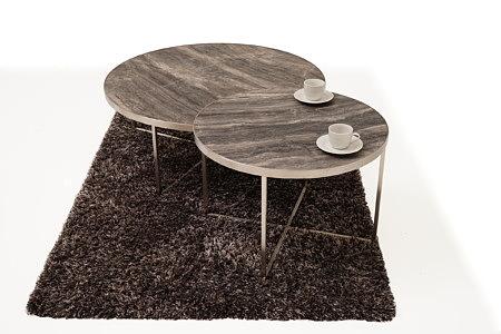 LB7 ława i stolik z marmurowym blatem na dywanie z długim włosiem