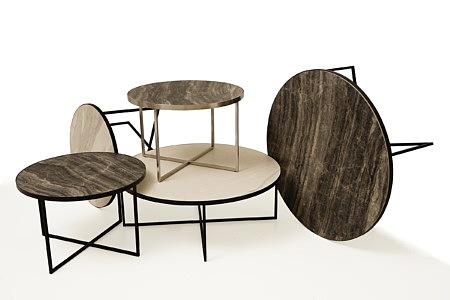 LB7 stoliki kawowe i ławy metalowe z blatem ze spieków kwarcowych