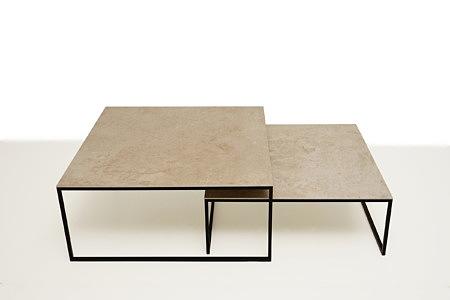 LB9 czarna ława kwadratowa stolik kawowy blat spiek biały granit