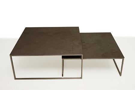 LB9 ława metalowa kwadratowa blat spiek kwarcowy ciemny granit