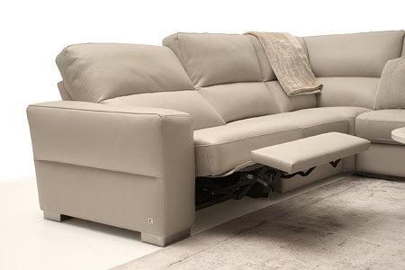 Livio narożnik z rozłożoną funkcją relax do pozycji leżącej, skórzany, kolor biały kremowy
