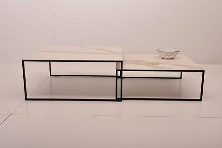 Nowość nowoczesne stoliki kawowe z czarnymi metalowymi nogami design modny
