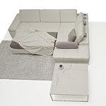 Onex biały elegancki narożnik ze spaniem oparcie poduszki