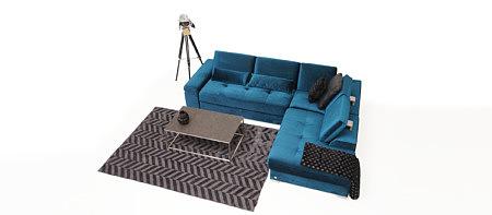 Onex narożnik do salonu w kolorze ciemnym morskim tapicerowany