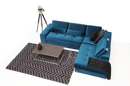 Onex nowoczesny narożnik w kolorze morskim do eleganckiego salonu