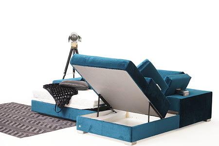 Onex prezentacja funkcji spania w nowoczesnym narożniku do salonu