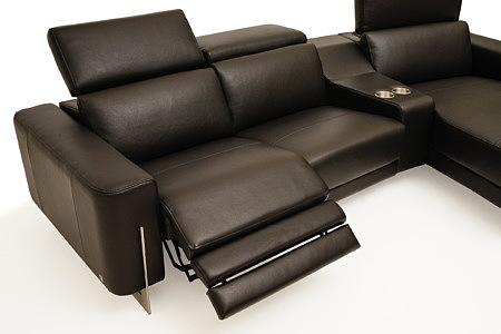 Saphire brązowa kanapa skórzana z funkcją relax elektryczny