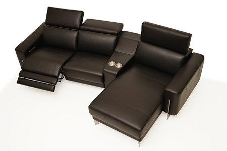 Saphire kanapa skórzana wypoczynek sofa z szezlongiem
