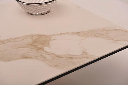 Stolik kawowy do nowoczesnego salonu biało brązowe pręgi spiek poler połysk ława 90x90 80x80