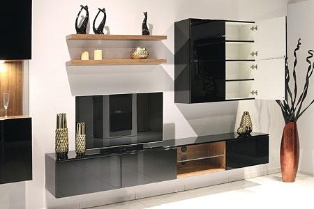 Zeus - eleganckie, designerskie, czarne meble do salonu lakierowane na wysoki połysk