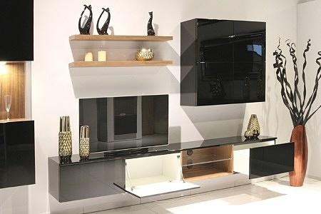 Zeus - kolekcja eleganckich czarnych mebli wiszących, lakierowanych na wysoki połysk, ze elementami z okleiny orzech amerykański