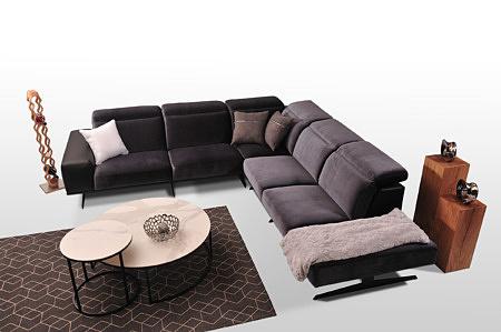 Narożnik do salonu Giotto TC MEBLE - duże wygodne siedziska modułowe, tapicerowany, kolor czarny i fioletowy, tapicerka łączenie skóra tkanina