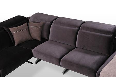 Giotto - modułowe siedziska nowoczesnego narożnika, tkanina dekoma welwet velur , kolor ciemno fioletowy i czarny
