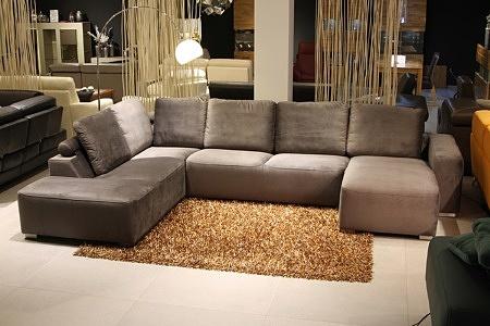 Flavio - ekskluzywny narożnik z poduszkami, komfortowy, tkanina w kolorze brązowym