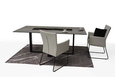 ładne tapicerowane krzesło z metalowymi płozami z podłokietnikami