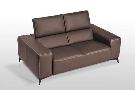 Elegancka sofa skórzana klasy premium - najlepszy ładny estetyczny design, zagłówki z regulacją pochylenia, grube masywne boki