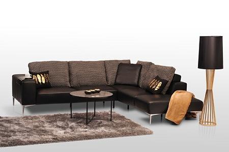 Narożnik ze złotymi i satynowymi nóżkami z metalu elegancki styl nowoczesny design