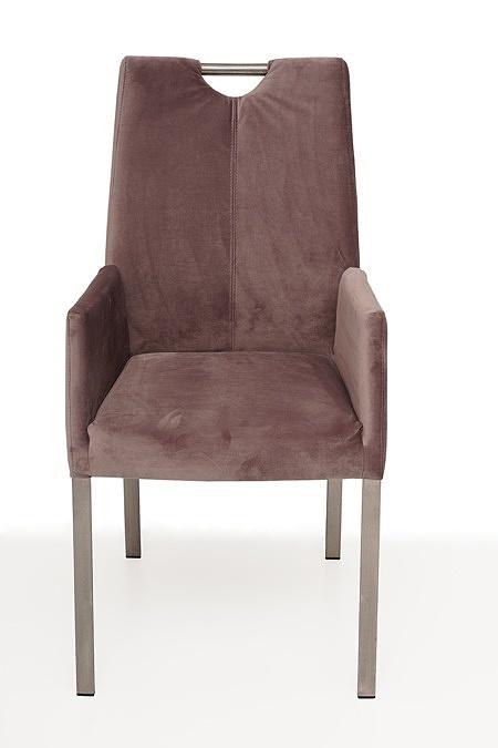 nowoczesne krzesło tapicerowane na metalowych nogach z pdłokietnikami 2