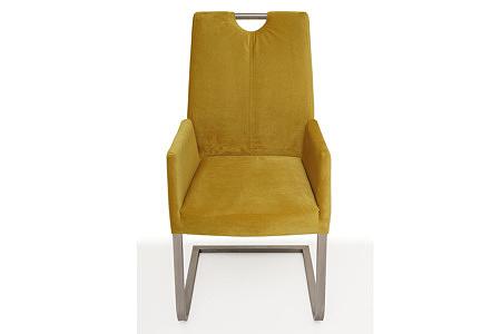 nowoczesne krzesło tapicerowane na metalowych płozach