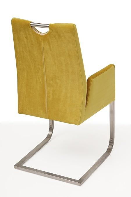 nowoczesne krzesło tapicerowane na metalowych płozach z podłokietnikami 3