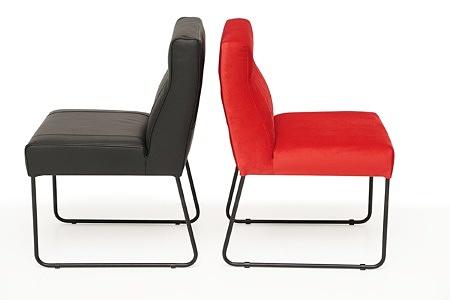Nowoczesne wygodne krzesło tapicerowane na metalowych płozach 04