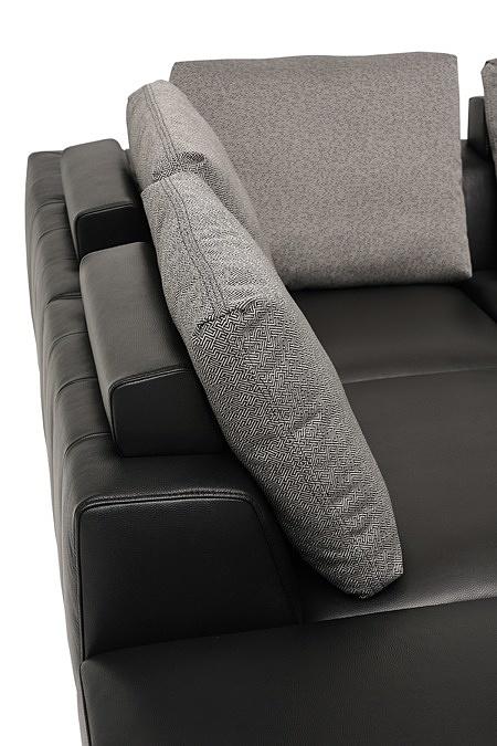 nowoczesny narożnik poduszkowiec na lekkich nóżkach chromowanych tkanina i skóra 11