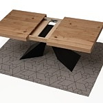 Nowoczesny rozkładany stół z blatem w dębie sękatym szczotkowanym 4