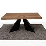 Nowoczesny rozkładany stół z blatem w dębie sękatym szczotkowanym 7