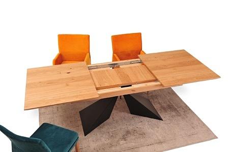 Nowoczesny stół z blatem z forniu dąb sękaty szczotkowany wkladki 50 cm 200x100 do 300cm