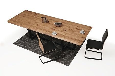 nowoczesny stół z nogami z metalu z drewnianym blatem03
