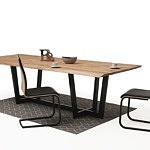 Nowoczesny stół z nogami z metalu z drewnianym blatem05