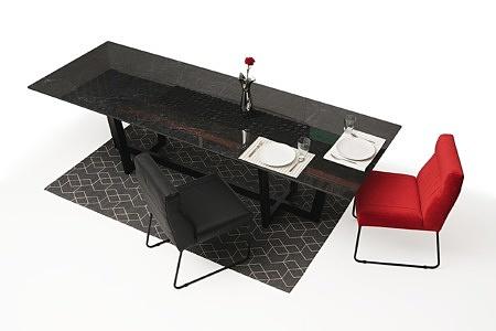 Nowoczesny stół z nogami z metalu z polerowanym blatem ze spieku09