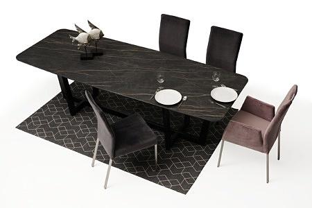 Nowoczesny stół z nogami z metalu z polerowanym blatem ze spieku21