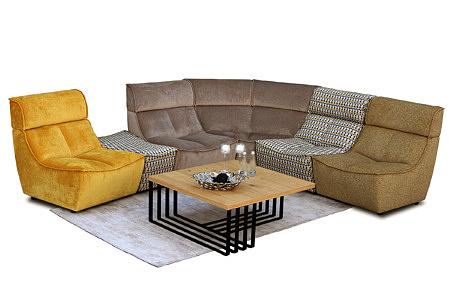 Viva - nowoczesny wypoczynek modułowy tapicerowany tkaniną