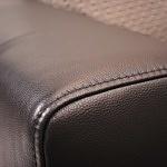 Podłokietnik boczek piękny nowoczesny meble do salonu przeszyty elegancki czarna gruba miękka skóra