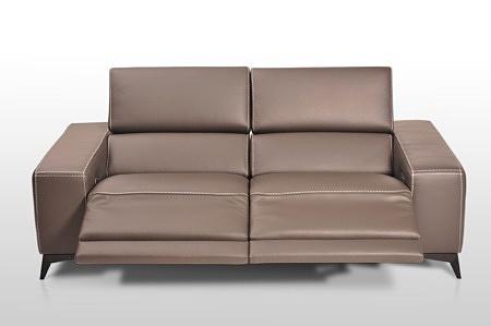 Elegancka nowoczesna kanapa skórzana z funkcją relax - brązowa skóra naturalna klasy premium, nowoczesny atrakcyjny design