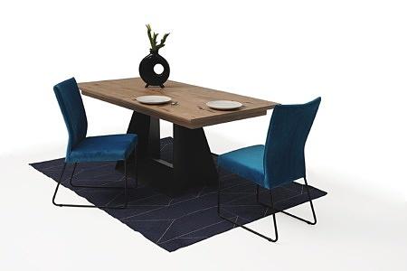 rozciągany stół z drewnianym blatem z metalowymi nogami3