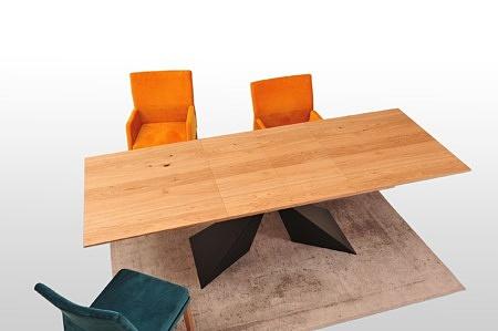 Rozłożony stół a2 280cm blat dębowy sękaty szczotkowany fornir czarne nogi nowoczesny design loft