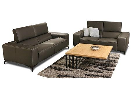 Luksusowy zestaw wypoczynkowy skórzany 2+3 - w skład komplety wchodzi sofa 3-osobowa i 2-osobowa