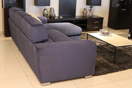 Sofa w materiale i skóże narożnikwygodna zgrabna 09