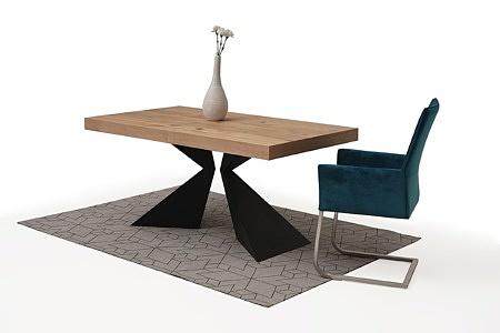Stół z drewnianym blatem metalowe czarne nogi 2
